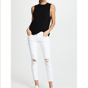 JBrand White Cropped Ripped Jeans - Mid Rise